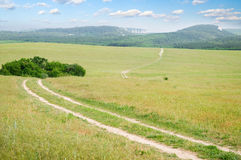 Lane in meadow and deep blue sky. Stock Images