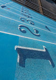 Lane Numbers on Running Track Stock Photo