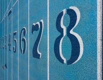 Lane Numbers on Running Track Royalty Free Stock Image