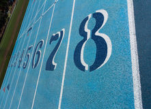 Lane Numbers on Running Track Royalty Free Stock Images