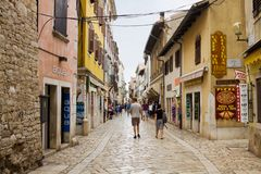 A lane in the old town of Porec. Porec is a touristic town on the Istrian peninsula, in Croatia royalty free stock photo