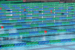 Lane Ropes in a pool. Lane ropes floating in a pool Royalty Free Stock Image