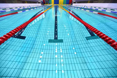 Lane of swimming pool are limited zones. Lane of empty swimming pool are limited zones Stock Photo