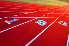 lanen numrerar stadionspåret Fotografering för Bildbyråer