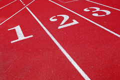 Lanes 123 on a running track Royalty Free Stock Photos