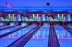 Lanes. Bowling Alley lanes during cosmic bowling royalty free stock image