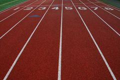 Lanes on athletic track Royalty Free Stock Images