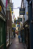 The Lanes in Brighton. BRIGHTON, UK - MAY 4TH 2018: A view down one of the narrow streets of The Lanes in the historic quarter of the city of Brighton in Sussex stock photo