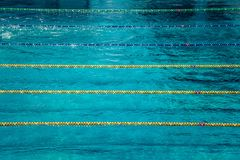 Lanes in a competition olympic size outdoor swimming pool. Calm Water background. Sense of peace, freedom and. Forthcoming competition Stock Photography
