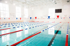Lanes of a competition swimming pool Stock Images