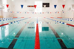 Lanes of a competition swimming pool Stock Photo