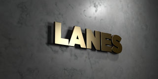 Lanes - Gold sign mounted on glossy marble wall  - 3D rendered royalty free stock illustration Stock Image