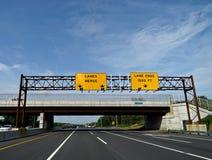 Lanes Merge Sign Stock Image