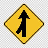 symbol Lanes merging left sign on transparent background vector illustration