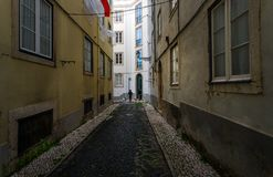 Lanes of the old Lisbon. Portugal. Old city of Lisbon. Lanes typical of this place. Portuguese paving stones stock photos
