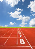 Lanes of running track. On the sky Royalty Free Stock Photography