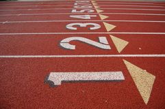 Lanes on running track Royalty Free Stock Photo