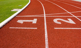 Lanes of running track Stock Image