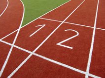Lanes on a track. The numbered lanes on a track Royalty Free Stock Photos