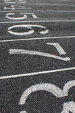 Lanes on Track Field. Close-up of numbered lanes on track field royalty free stock image