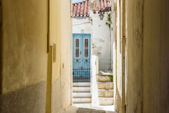 Laneway in a greek village on Andros Island Greece Royalty Free Stock Photography