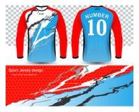 Langärmlige Fußballtrikot-T-Shirts Modellschablone Stockfoto