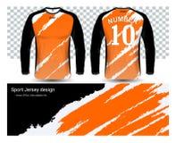 Langärmlige Fußballtrikot-T-Shirts Modellschablone vektor abbildung