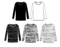 Langärmlige T-Shirts Sammlung Technische Skizzen vektor abbildung