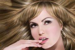 Lang blond haar Stock Foto's