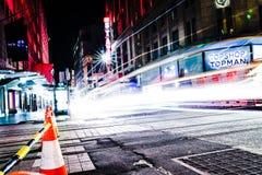 Lang blootstellingsbeeld van de straten van Sydney stock afbeelding
