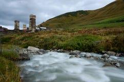 Lang blootstellingslandschap van middeleeuws Georgisch bergdorp Ushguli, Unesco Royalty-vrije Stock Foto