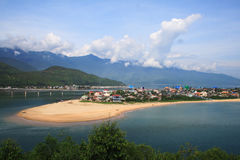 Lang Co beach from Hai Van pass, Hue, Viet Nam. Royalty Free Stock Image