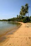Lang eenzaam strand bij het Eiland van het Konijn, Kambodja Stock Fotografie