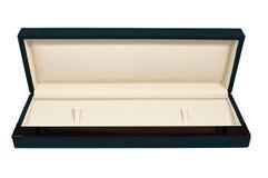 Lang geopend donkerblauw schuim en houten doos Royalty-vrije Stock Afbeeldingen