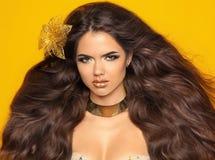 Lang golvend haar Het Meisjesportret van de manierschoonheid op geel wordt geïsoleerd die Stock Afbeeldingen