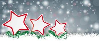 Lang Gray Christmas Card 3 Rode Sterren Royalty-vrije Stock Afbeeldingen