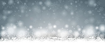Lang Gray Christmas Card Snowfall Stock Afbeelding