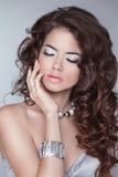 Lang haar Donkerbruin de vrouwenmodel van de schoonheidsmanier met golvende hairsty stock afbeelding