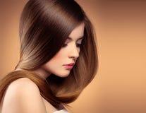 Lang haarmodel Stock Afbeelding