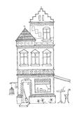 Lang huis met twee torens, sierarchitectuurerfenis met een koffiebar beneden Stock Foto