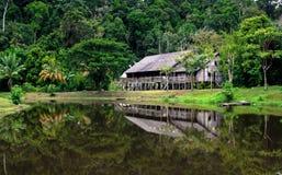 Lang huis in Sarawak stock foto's
