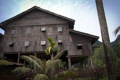 Lang huis in Sarawak stock afbeelding