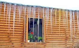 Lang ijskegels en chaletvenster stock afbeelding