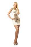 Lang model op wit Royalty-vrije Stock Afbeelding