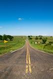 Lang Road van Kansas Stock Afbeeldingen