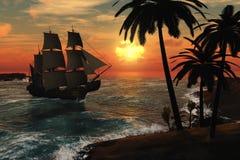 Lang Schip in Tropische Zonsondergang vector illustratie