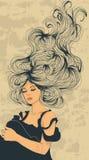 Lang stromend haar royalty-vrije illustratie