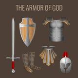 Lang zwaard van geest, bereidheidsschild, de helm van de pantserredding royalty-vrije illustratie