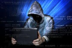Langage anonyme de pirate informatique et de programmation photo stock