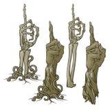 Langage du corps de zombi Dirigeant le doigt vers le haut Ensemble de mains représentées réalistes de zombi de décomposition et a illustration stock